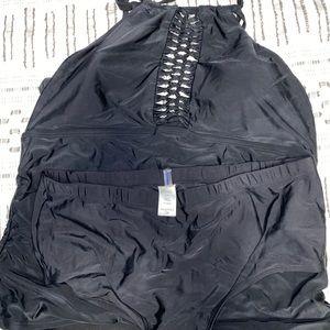 Swimsuits for All black lattice tankini